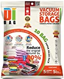 DIBAG 10 Bags Pack 5X(130x74 cm) + 5X(86x50 cm) Vacuum Compressed Storage Space Saver Bags for Clothing, Duvets, Bedding, Pillows, Curtains & More.