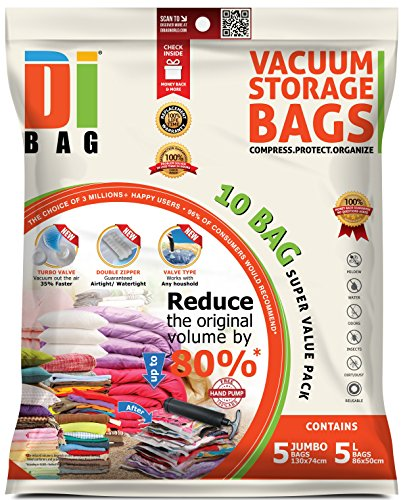 DIBAG® Space Saver Vacuum Storage Bags - 10 Premium Travel Space Bags - Bag Size: Jumbo & Large - 2X Sealed Compression Plastic Bags for Clothing Storage, Clothes Bedding & ()