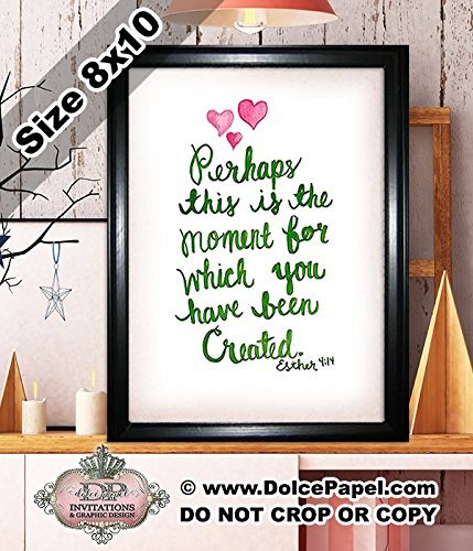 Shimmery Metallic Pink and Green PERHAPS THIS IS THE MOMENT YOU WERE CREATED Esther 4:14 Bible Quote Modern Art Deco Framed Art Print Size 8x10 Black ()