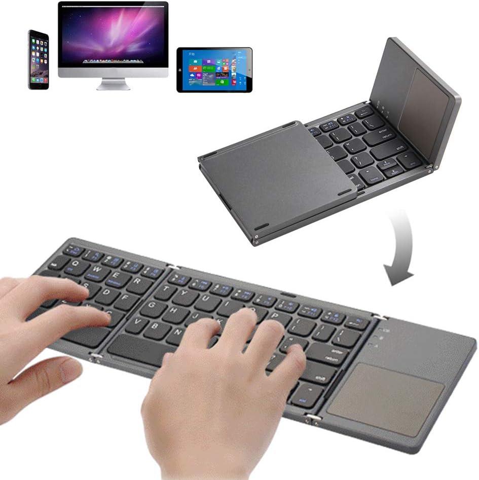 Teclado Bluetooth plegable de tamaño de bolsillo Teclado portátil USB recargable Bluetooth con teclado táctil Mini teclado para Windows, Android, iOS, Windows, TabletaiOS, Windows, Tableta
