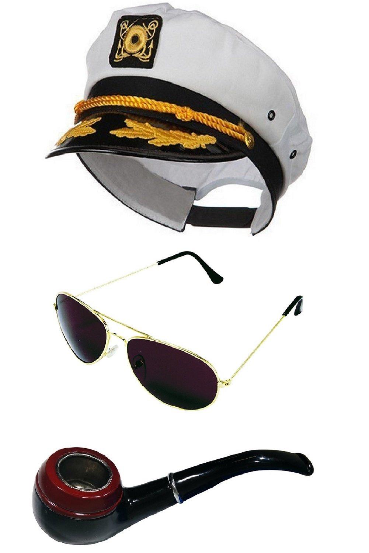 White Sailor Ship Yacht Captain Hat Smoking Pipe Aviator Sunglasses Costume Set