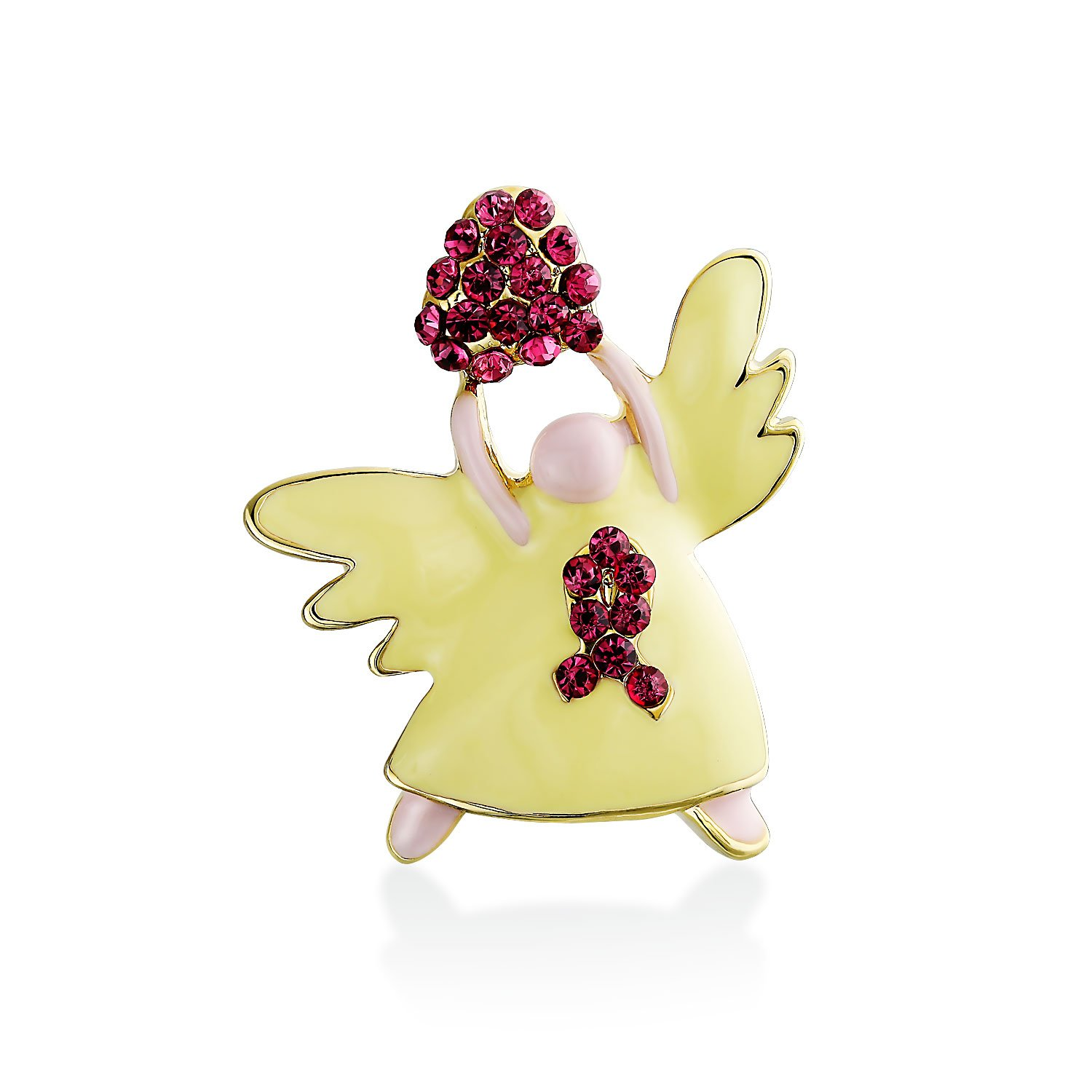 Guardian Angel Brooch Pin Breast Cancer Ribbon Heart Accent Red Crystal Yellow Glass Gold Plated Brass Bling Jewelry CJ-W3459P-BJ