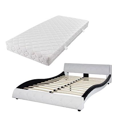 Fijo Night Cómodo cama doble Cama Marco estructura cama piel ...