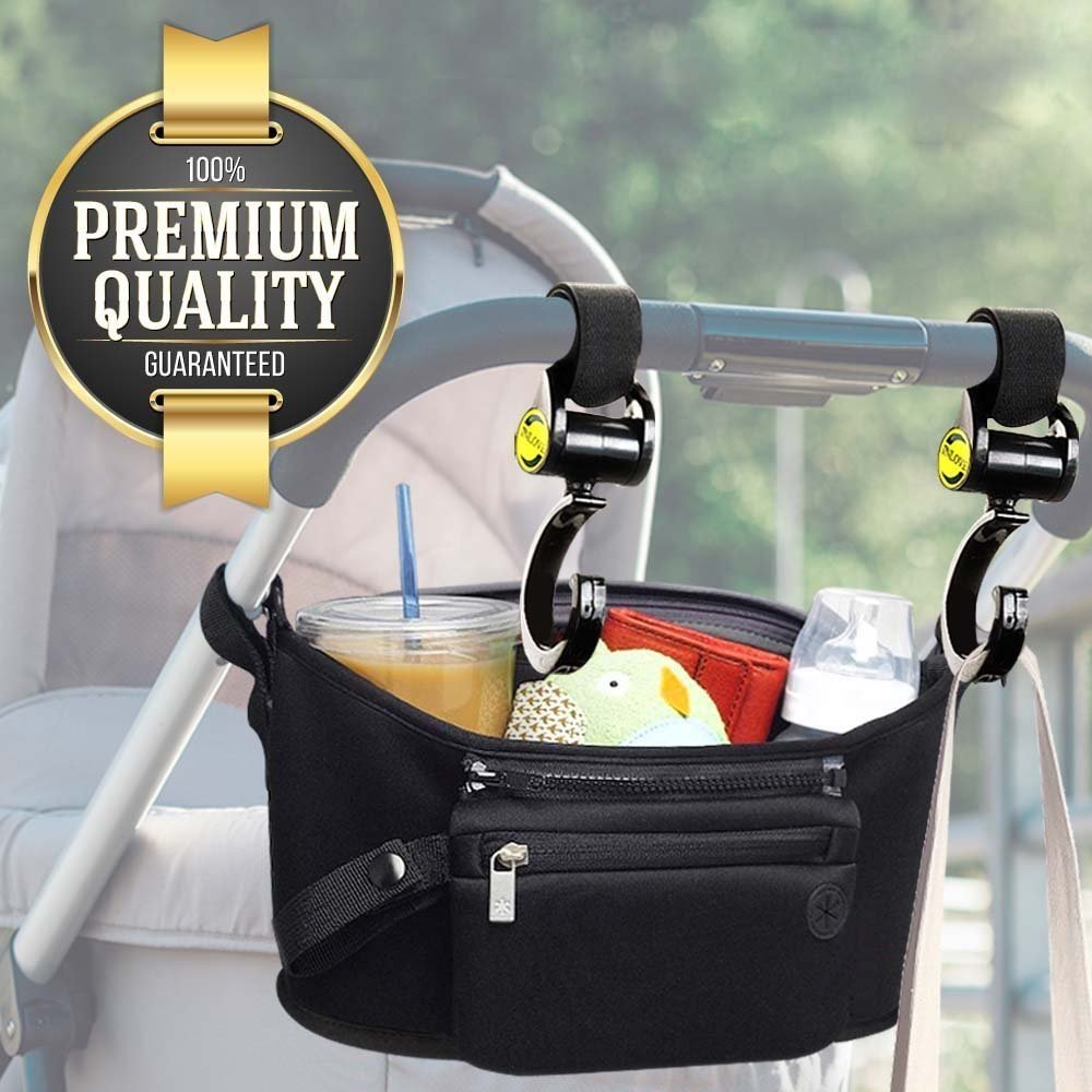 Eutuxia Universal Stroller Organizer Bag with Multiple Pockets and Detachable Wristlet. Extra-Large Storage Space for Bottles, iPhone, Toys, Diapers, Books, and More!