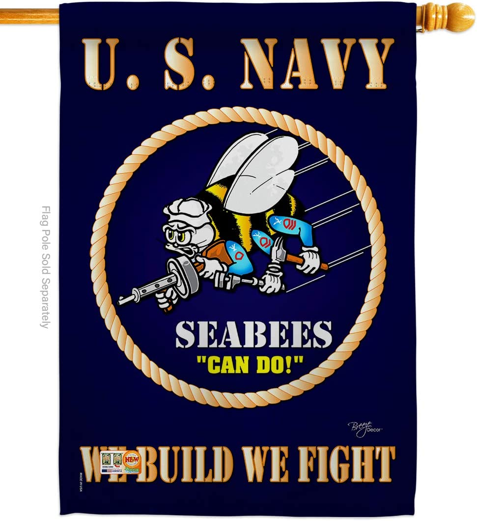 Breeze Decor Sea Bees House Flag Armed Forces Navy USN Seabee United State American Military Veteran Retire Official Decoration Banner Small Garden Yard Gift Double-Sided, 28