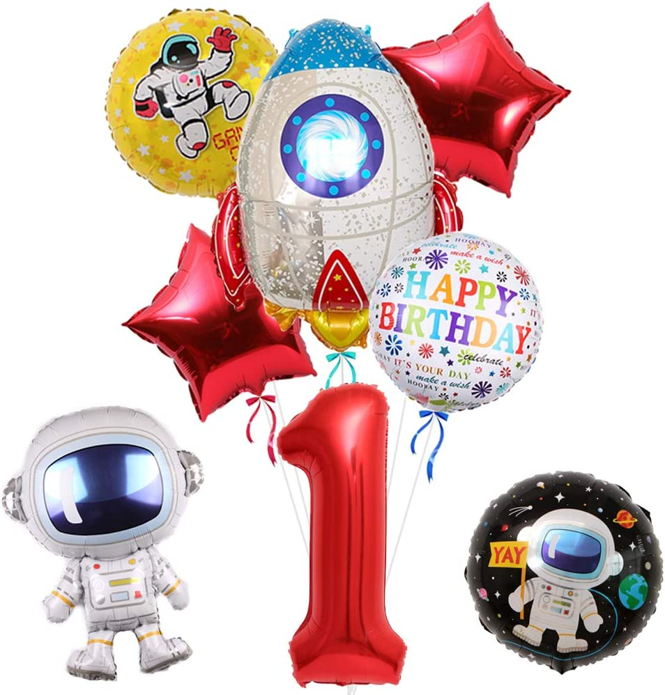 """Outer Space Balloons Party Supplies - Pack of 8, 30"""" Astronaut Spaceman Balloon for 1st Birthday Balloon Bouquet Decorations, Baby Shower, Home Office Decor, Birthday Backdrop (1st)"""