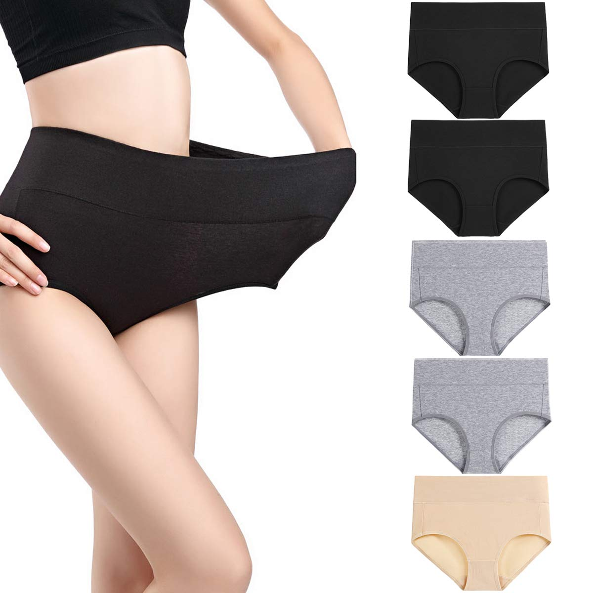 Size 4 wirarpa Womens 5 Pack Cotton Underwear High Waisted Full Coverage Brief Panties Ladies Comfortable Underpants Black Grey Beige