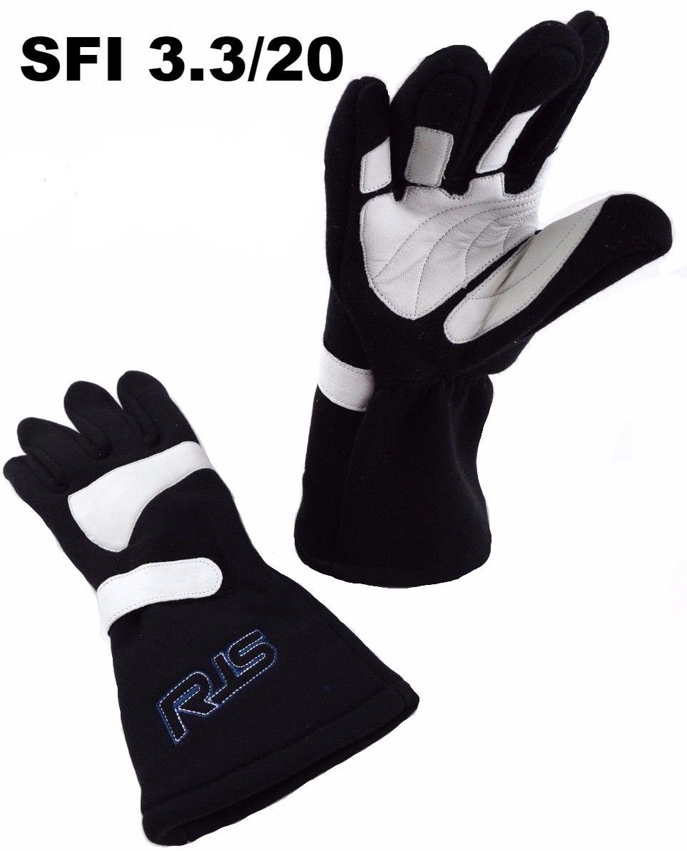 Racerdirect RJS Racing SFI 3.3//20 Racing Gloves 3.2A//20 Elite Gloves SFI 20 Black /& White Size Large