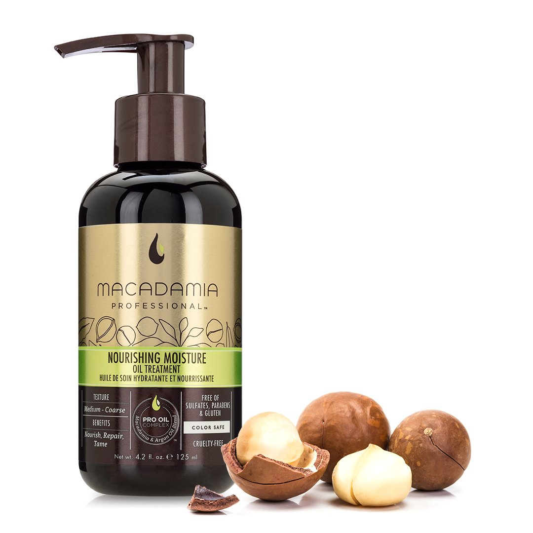 Macadamia Professional Nourishing Moisture Oil Treatment - 4.2oz. - Medium to Coarse Hair Textures - Nourishes & Tames - With Argan Oil - Sulfate, Gluten & Paraben Free, Safe for Color-Treated Hair