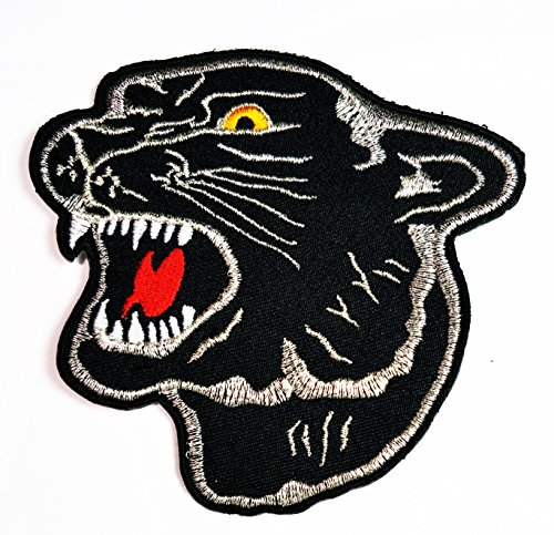 HHO Black Panther Cat Puma Jaguar Leopard Cougar Animal Iron on Cartoon Patch Embroidered DIY Patches, Cute Applique Sew Iron on Kids Craft Patch for Bags Jackets Jeans Clothes]()