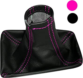 Bellows of 100/% Genuine Black Leather with Different Color Stitching Gear Shift Lever Gaiter Cover Aerzetix Red Seams