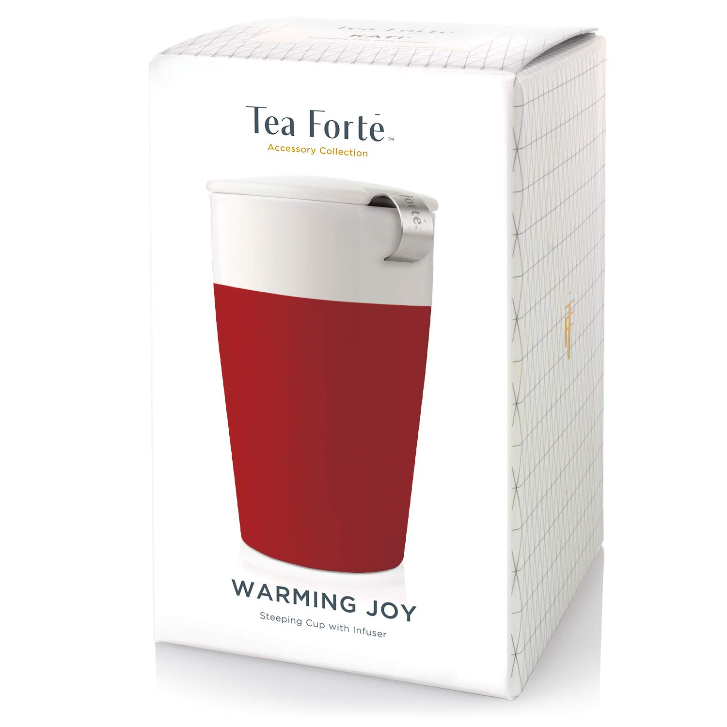 Warming Joy Tea Forte Kati Cup Ceramic Tea Infuser Cup with Infuser Basket and Lid for Steeping