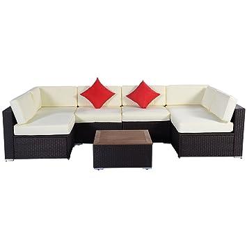 Amazon Tangkula 7PC Outdoor Patio Furniture Wicker Rattan