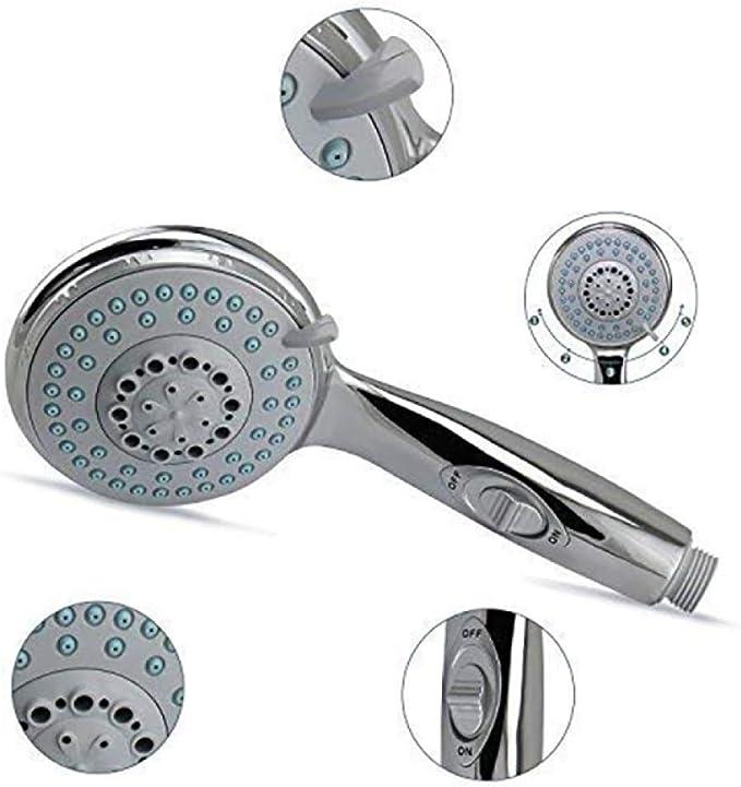 KangHS Alcachofa, Cabezal de ducha con interruptor de presión 5 modos de lluvia Ducha de mano: Amazon.es: Bricolaje y herramientas