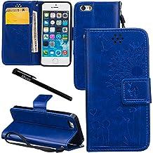 Urvoix iPhone SE Case, iPhone 5S/5 Case, Credit Card Holder Leather Cover Embossed Romantic Dandelion Folio Case for Apple iPhone5 / 5S / SE, Blue