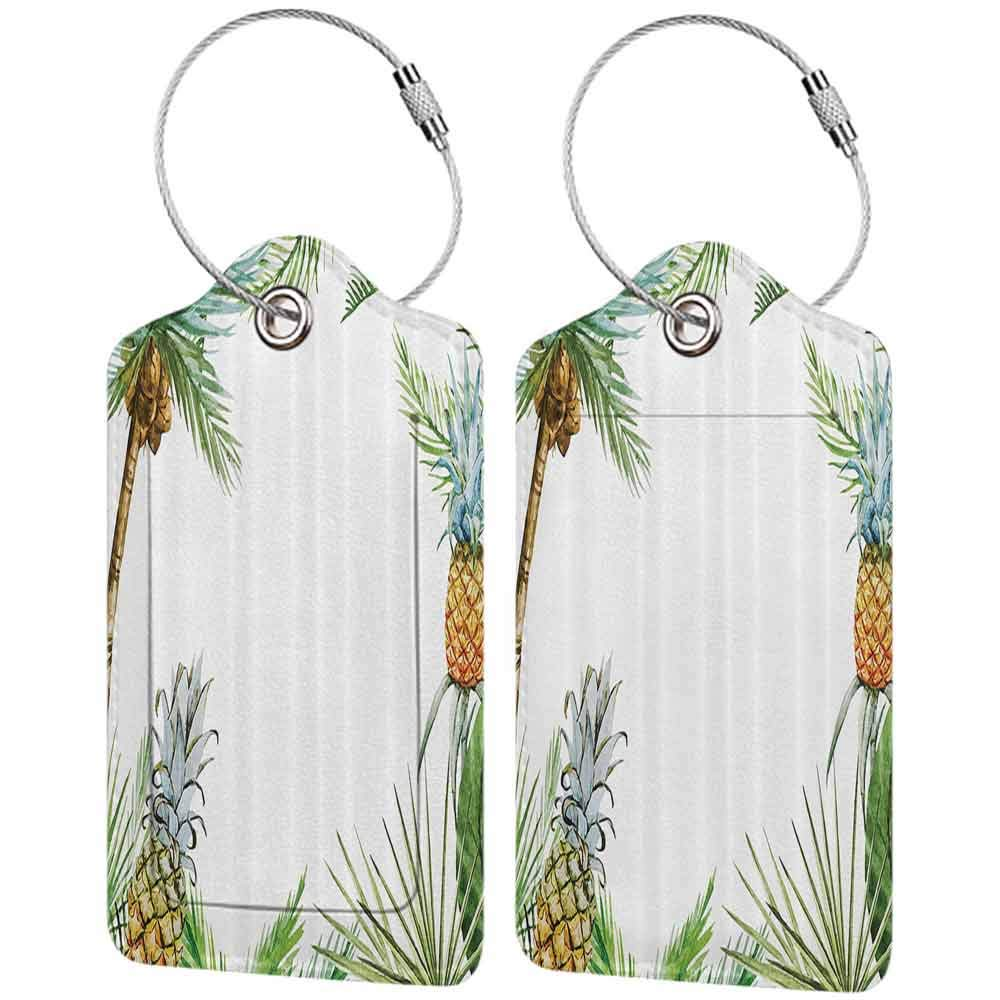 Multi-patterned luggage tag Pineapple Decor Watercolor Tropical Island Style Border Print With Exotic Fruit Palm Trees And Leaves Double-sided printing Multi W2.7 x L4.6