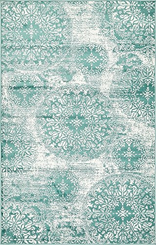 Unique Loom 3138688 Sofia Collection Traditional Vintage Beige Area Rug, 5' x 8' Rectangle, Turquoise (Rug Large Turquoise)