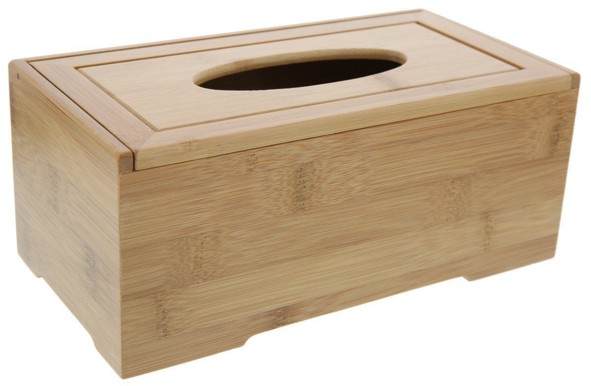 Le Juvo Bamboo Tissue Box Cover - Holds Most Rectangular Tissue Boxes, Modern Look And Finish - Wood Carved Design - 25 X 12 X 9.5 cm COMIN16JU017883