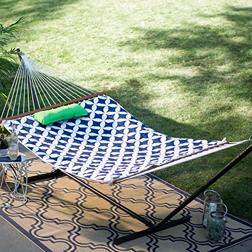 Cotton Rope Double Hammock with Metal Stand Set Includes Pillow, Pad, and Drink/iPad Holder - Green, Navy