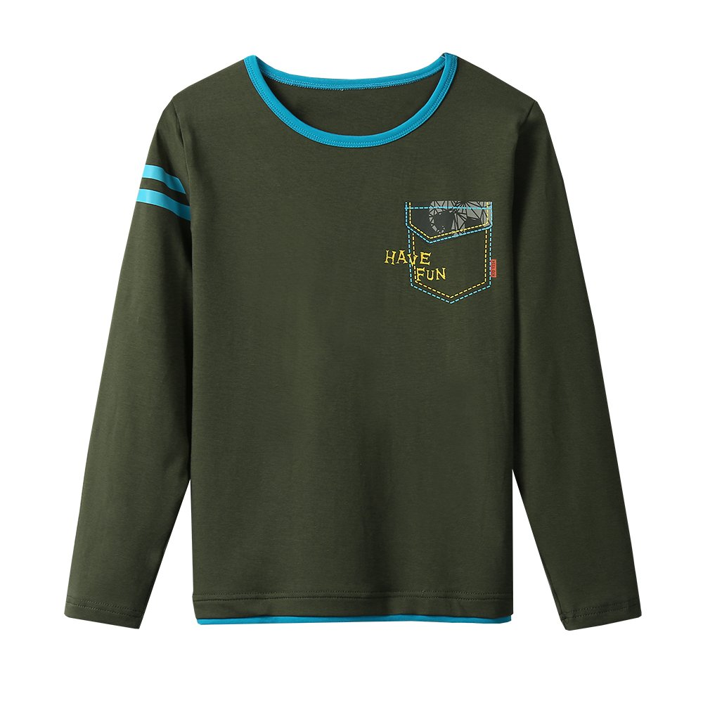 KID1234 Boys Long Sleeve T-Shirts Uniform Crew Neck Tee Shirts Cotton Kids Tops Clothes