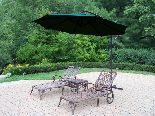 Oakland Living Mississippi Cast Aluminum 2 Chaise Lounges with 18-Inch Side Table and 10-Feet Cantilever Umbrella