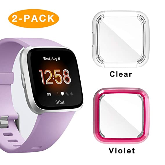 Screen Protector for Fitbit Versa Lite,2 Pack iHYQ TPU Plated All-Round  Cover Case Compatible Fitbit Versa Lite Smartwatch