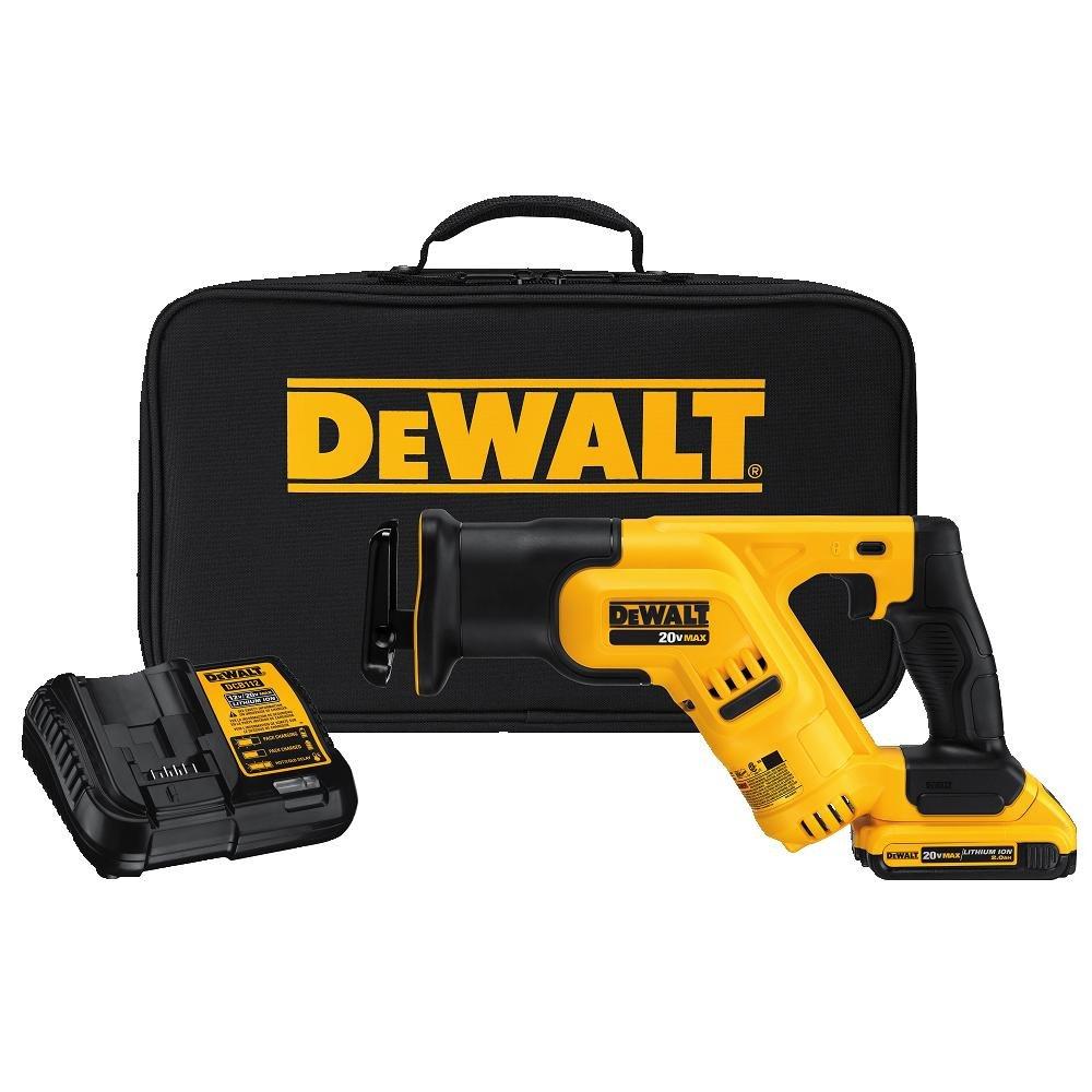 DEWALT DCS387D1 20V MAX Lithium Ion Compact Reciprocating Saw Kit (2 Amp)