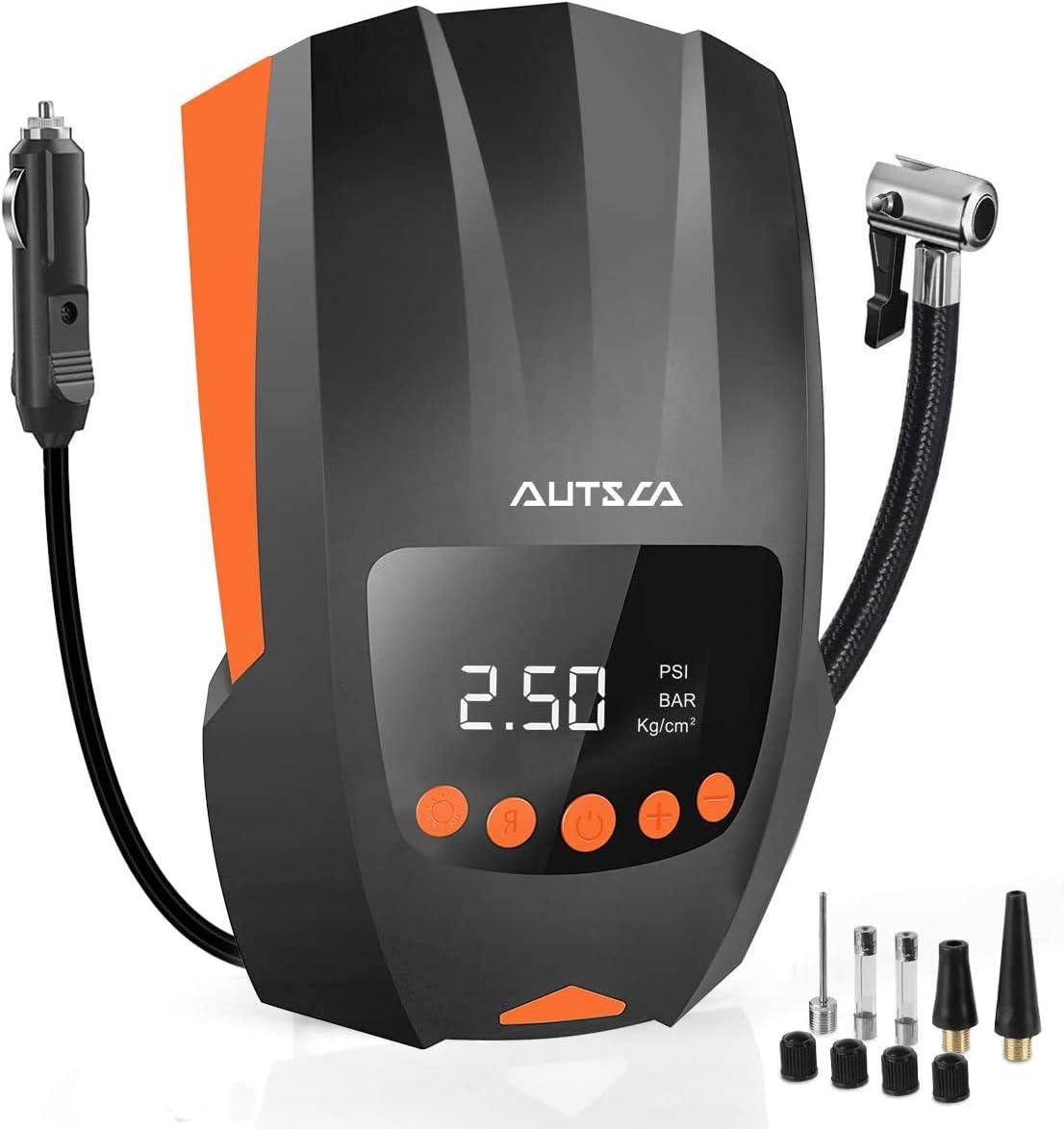 Autsca 12v Luftkompressor Tragbarer Elektrischer Luftkompressor Mit Led Bildschirm Und Langem Kabel Geeignet Für Autos Fahrräder Motorräder Schlauchboote Und Bälle Auto