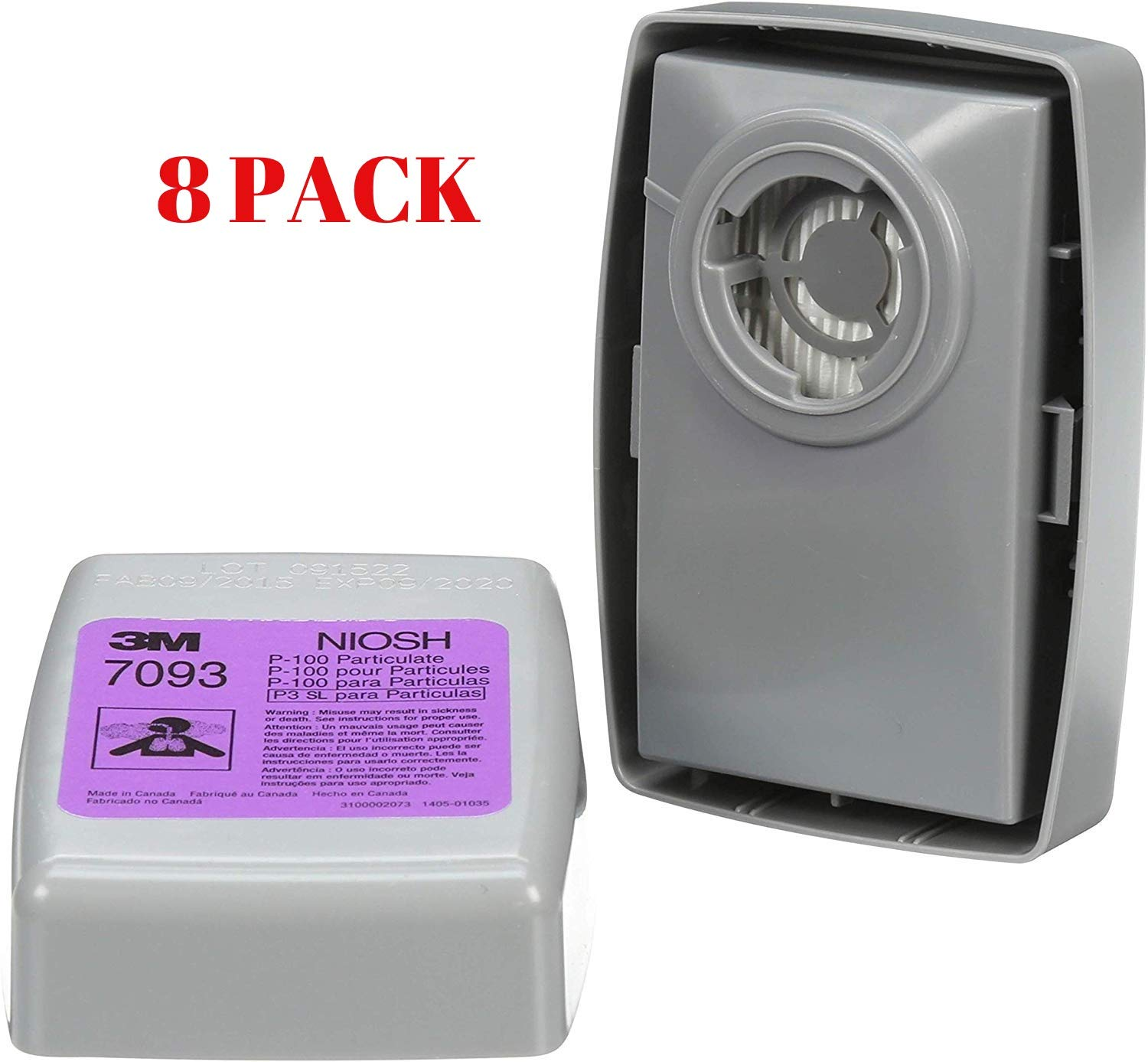 Pack of 8 3M Particulate Filter 7093B 8 Pack P100 Respiratory Protection