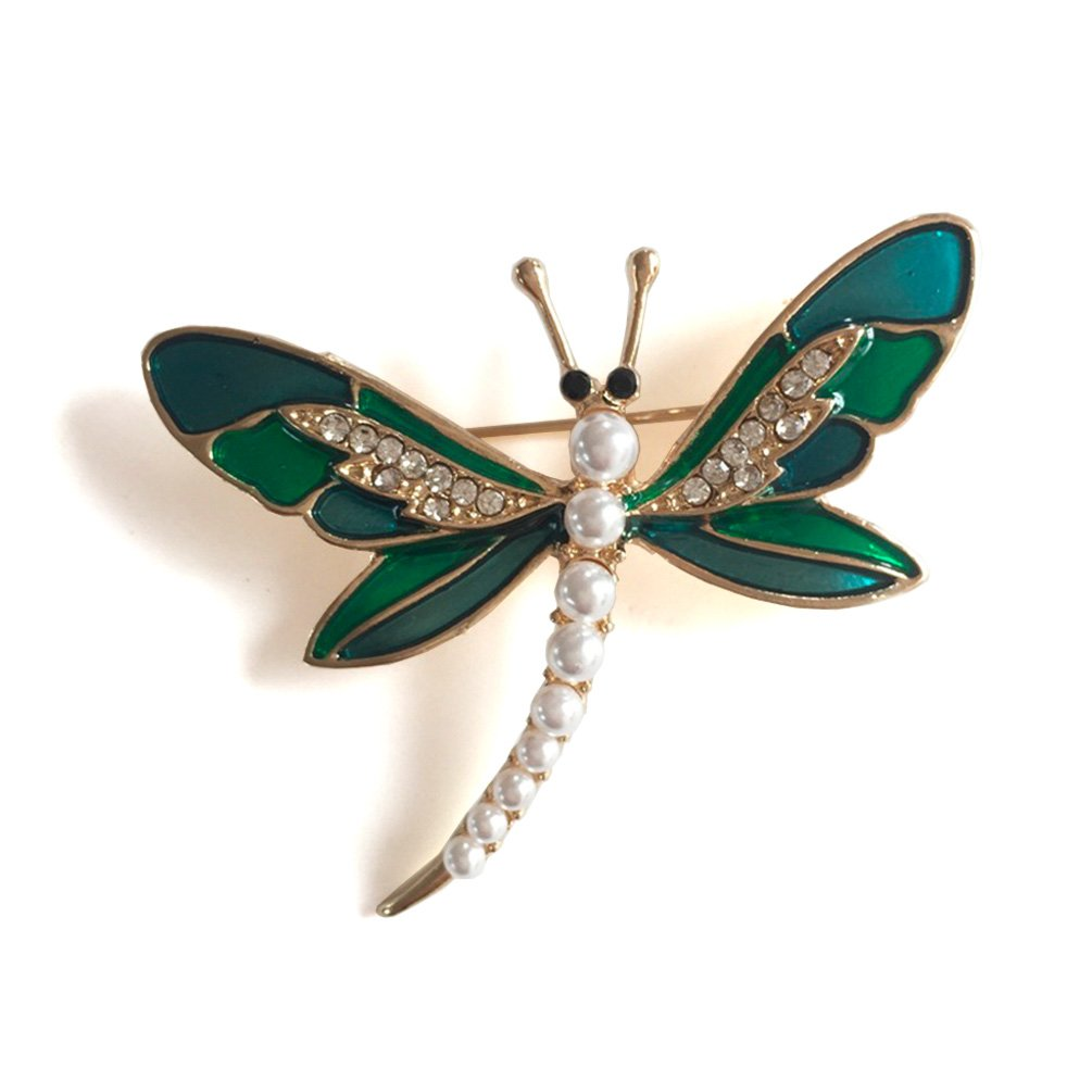 Lovely Crystal Rhinestone Brooch Pin,Gold Plated Brooch Jewelry for Women Men (Dragonfly Pearl)