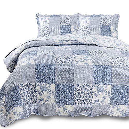 KASENTEX Country-Chic Printed Pre-Washed Set. Microfiber Fabric Design. Queen Quilt + 2 Shams. ()
