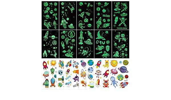 PHOGARY 20 hojas de tatuajes espaciales para niños (Luminoso y ...