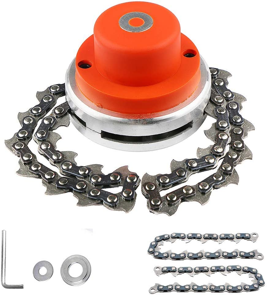 BGTOOL 65Mn Coil Chain Trimmer Head Weed Eater Head Universal for Straight Shafts Garden Pole Trimmer Tools Brush Cutter Chain Lawn Mower Outdoor Grass Trimmer (Red)