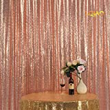 LQIAO Sequin Curtain 10X8FT-Rose Gold Sequin Backdrop Wedding Photo Booth Door Window Curtain for Halloween Party Wedding Decoration