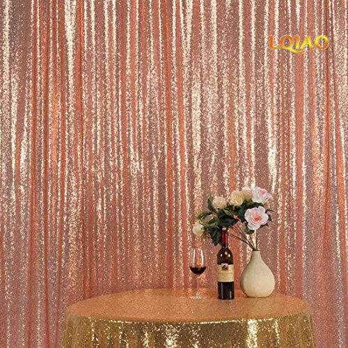 LQIAO New Arrival Rose Gold Sequin Backdrop Background 8FTx8FT,Sequin Curtain Backdrop Photo Booth Wedding Props Glitter Party Background Decorations , Pocket 8x8FT(240x245cm))