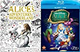Disney Alice in Wonderland Blu Ray + DVD 60th Anniversary Edition & Alice in Wonderland Adventures Coloring Book - Animated Movie Activity Bundle