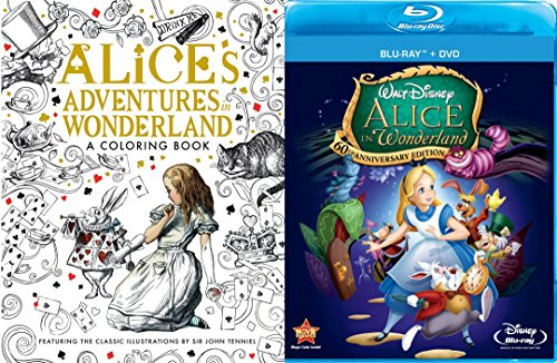 Disney Alice in Wonderland Blu Ray + DVD 60th Anniversary Edition & Alice in Wonderland Adventures Coloring Book - Animated Movie Activity Bundle
