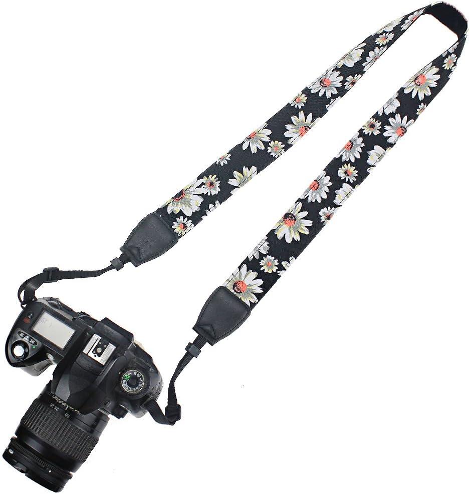 Elvam Universal Men and Women Camera Strap Belt Compatibla with All DSLR Camera and SLR Camera - Black Flower