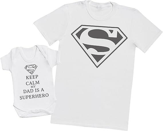 Ensemble P/ère B/éb/é Cadeau Hommes T-Shirt /& Body b/éb/é Keep Calm Dad is A Super Hero Medium /& 0-3 Mois Blanc