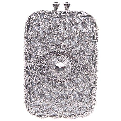Fawziya Eye Shape Purses And Handbags Wholesale Bags For Girls-Silver