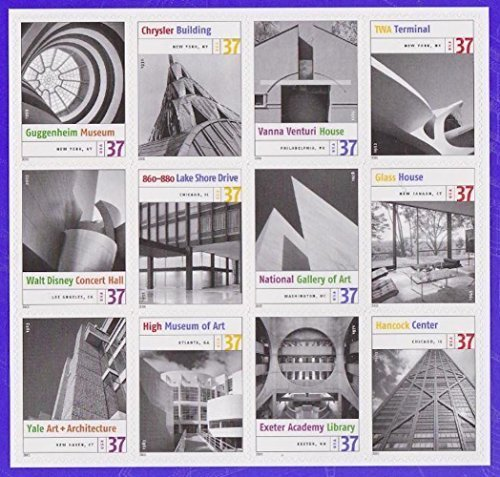 Masterworks of Modern American Architecture, Full Sheet of 12 x 37-Cent Postage Stamps, USA 2005, Scott 3910