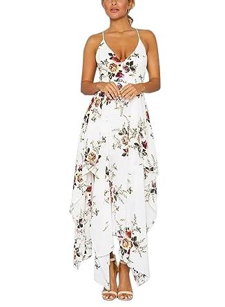 918c108d7fc FFLMYUHULIU Women s Strap Floral Print Backless V Neck Irregular Beach  Vacation Maxi Dress ZC40-C2616baixiaohua