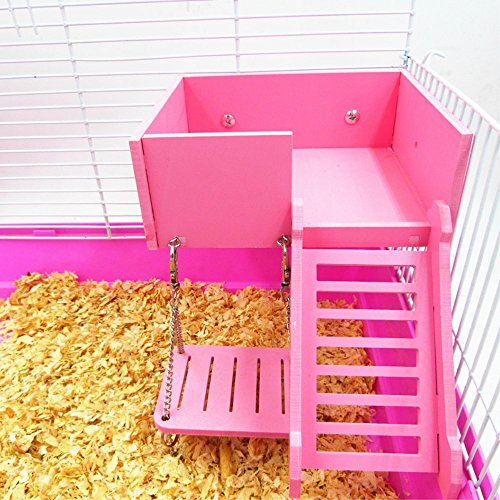 Wooden Platform,Swing and Ladder Set for Mouse, Chinchilla, Rat, Gerbil and Dwarf Hamster,Climbing Kits for Small Animals (Pink)