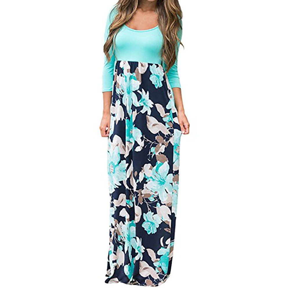 iLUGU Women's Floral Print Three Quarter Sleeve Casual Tunic Long Boho Maxi Dress by iLUGU