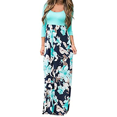 27f877dba27 Women's Casual Floral Print Long Dress 3/4 Sleeve for Ladies Teen Girls  Loose Boho