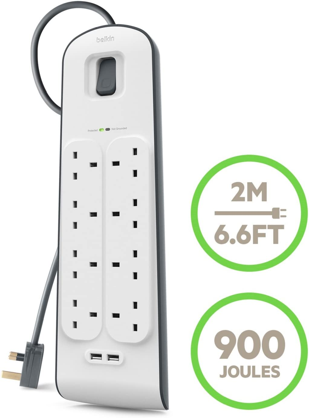 Belkin 8 Way 2m Surge Protection with 2 x USB Plugs 43% OFF £19.99 @ Amazon