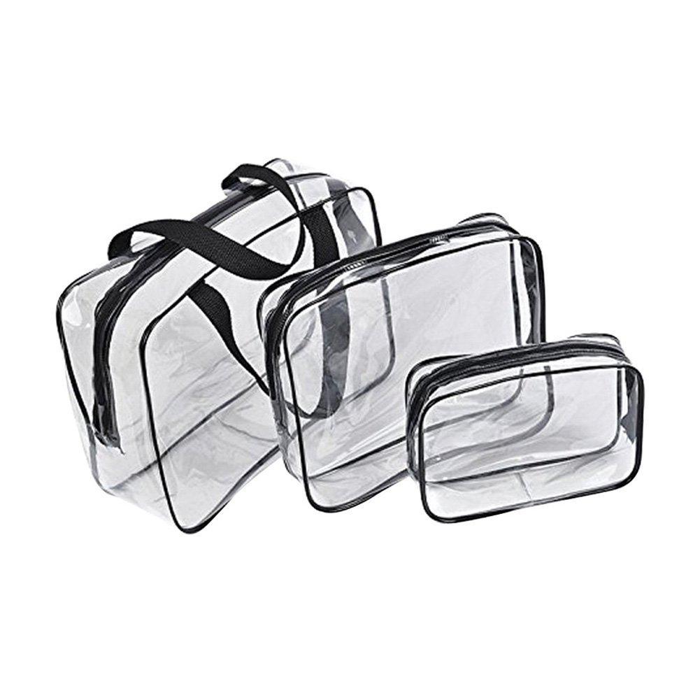 LUFA 3 pezzi trasparente in PVC da toilette trucco del sacchetto di plastica sacchetto cosmetico con cerniera impermeabile dell'organizzatore Case Medium
