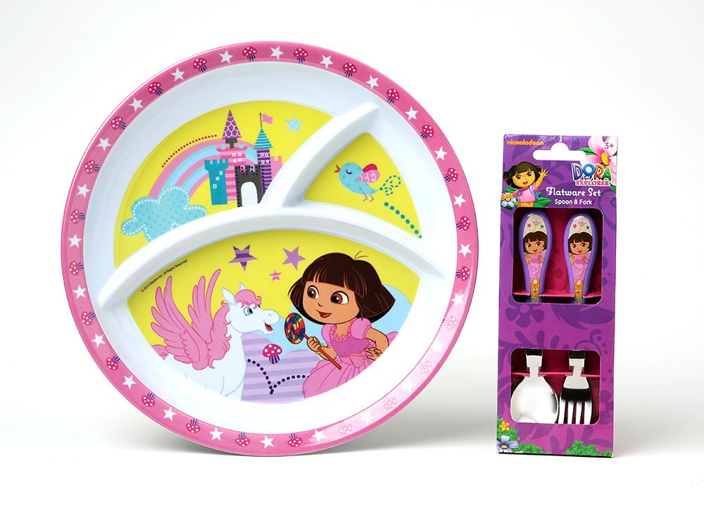 Dora The Explorer Divided Plate With Fork and Spoon. Sturdy and Beautiful! 2-pc by KCare   B00JNUOVV2