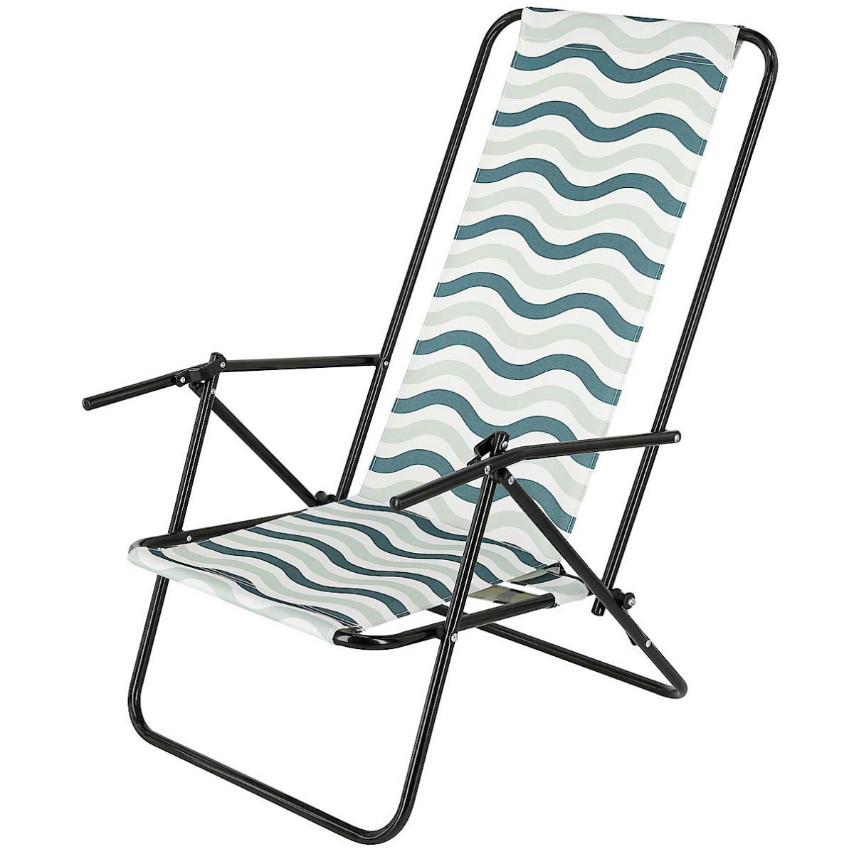 Clas Ohlson Deck Chair Foldable Reclinable Low Seat Garden Deck Chair Beach Chair With Steel Frame Wave Pattern Buy Online In Fiji At Fiji Desertcart Com Productid 206299055