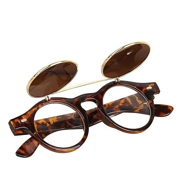 Worsworthy Gafas de sol Steampunk con gafas de sol redondas de doble capa abatibles Gafas Steampunk Goth Gafas Retro Flip Up gafas de sol redondas ...